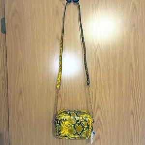 NWT Yellow Vegan Faux Snake skin cross body bag